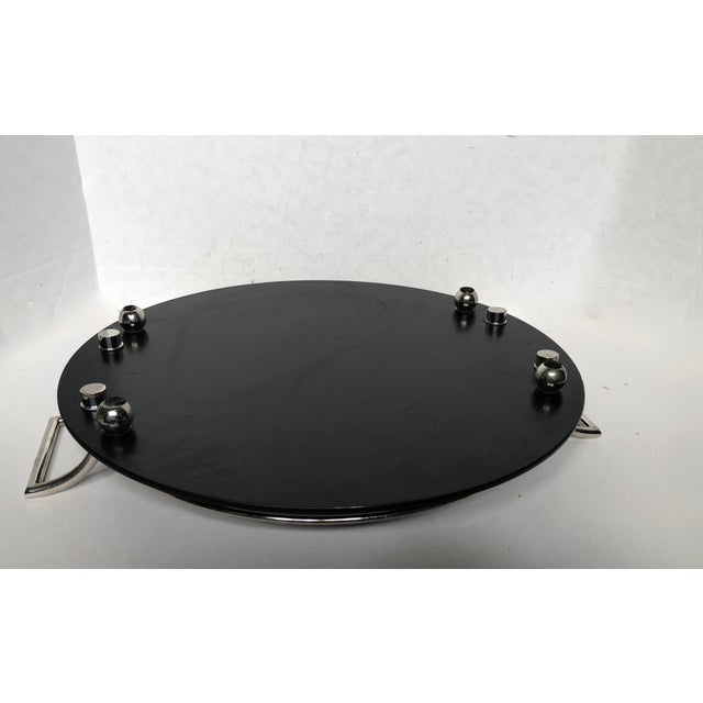 Opaque, black onyx glass serving tray with ball feet and ESPN silver plated railing . Made by Yeoman in England. Heavy...