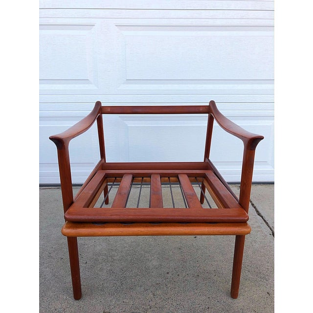 Fabric Pair of Mid-Century Modern Easy Chairs in Teak and Wool For Sale - Image 7 of 9