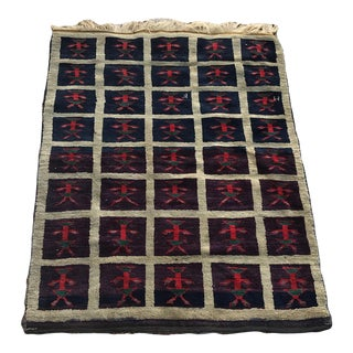 "Hand Made VIntage Tribal Turkish Runner Rug With People Figures 4'1""x5'8"" For Sale"