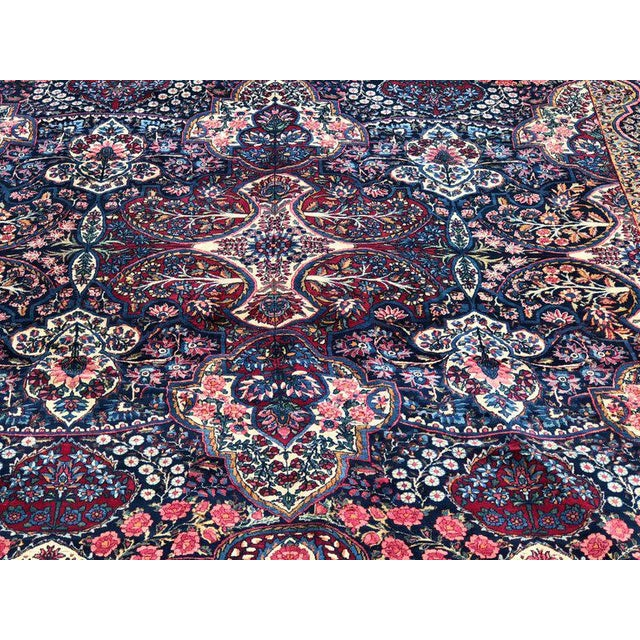 Palatial Antique Persian Carpet With Red Border, Blues, Reds, Creams, Kermin For Sale In New York - Image 6 of 13
