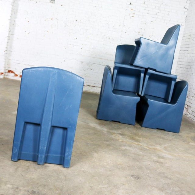 Plastic Blue Molded Plastic Side or Slipper Chairs by Norix Set of Eight For Sale - Image 7 of 13