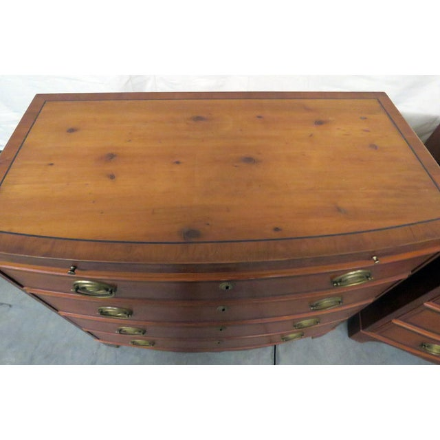 "Pair of Hickory Manufacturing Co 4 drawer bachelors' chests with 10"" pull out writing surface."