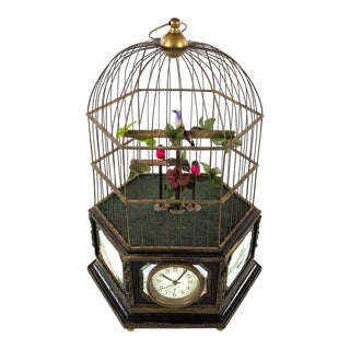 Antique Animated Bird Cage Music Box With Clock For Sale