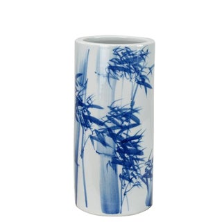 Chinoiserie Blue and White Porcelain Waving Bamboo Vase For Sale