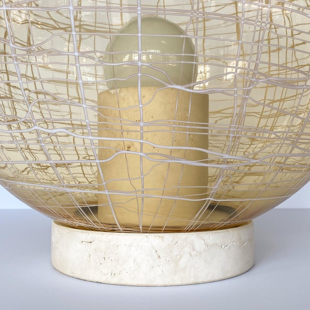 1970s La Murrina Pale Yellow Globe and Travertine Table / Floor Lamp For Sale - Image 5 of 13
