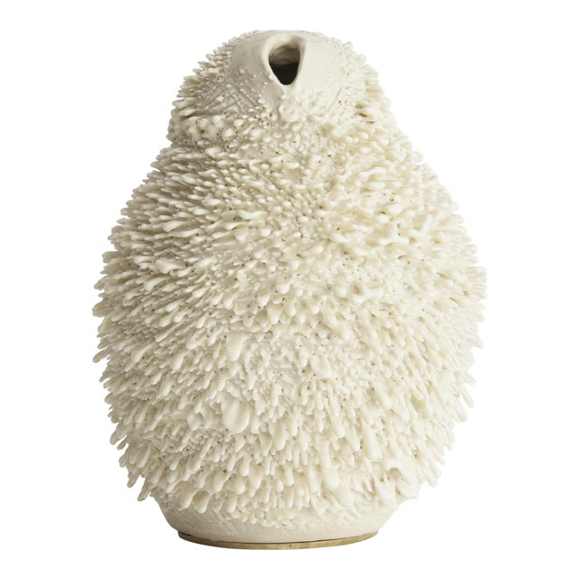 Unique, hand-thrown Vagina Owl Accretion vase - Image 1 of 4