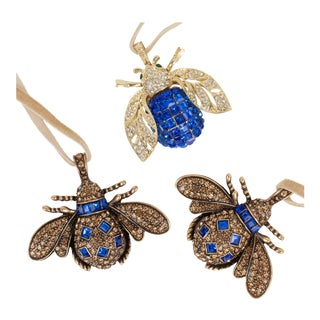 Sparkle Bee Hanging Ornaments - Set of 3 For Sale