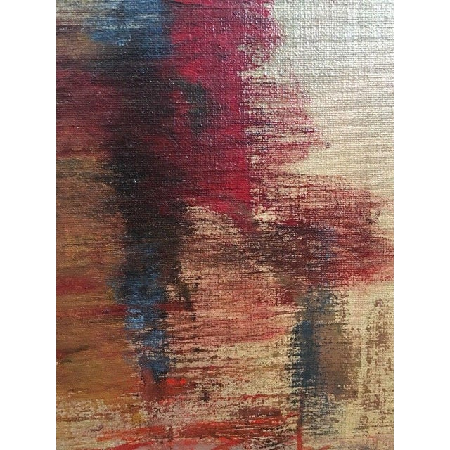 Blue 1975 Vintage Mid Century Abstract Expressionist Oil Painting, Signed Jesse Jacobs For Sale - Image 8 of 11