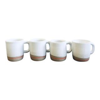 Hand Crafted Modernist Artisan Stoneware Mugs - Set of 4 For Sale