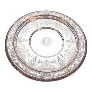 """Wallace Silver Hand Chased Sterling, Holloware 10.25"""" Sandwich Plate For Sale"""