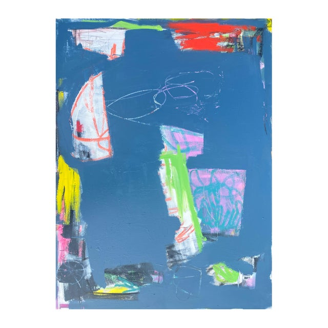 """Canvas Sarah Trundle """"Magic Bus: Blue No. 3"""" Contemporary Abstract Painting For Sale - Image 7 of 7"""