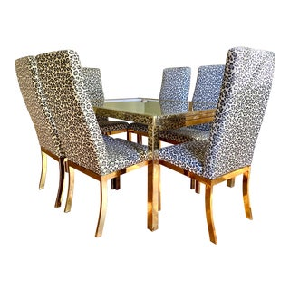 1970s Mastercraft Brass Expandable Dining Table & Mastercraft Leopard Chairs With Brass Legs - Set of 7 For Sale