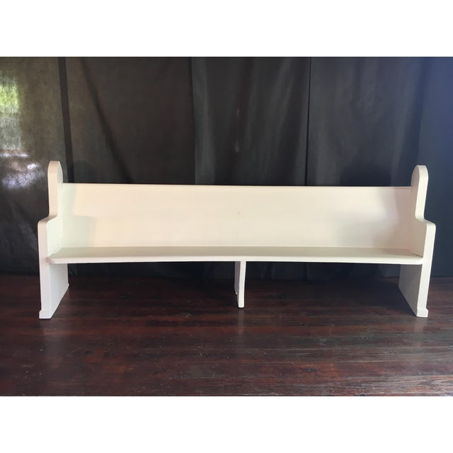Vintage Wooden Church Pew For Sale - Image 9 of 9