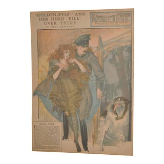 "Art Nouveau ""Golden Eyes"" San Francisco Weekly Full Color Page by Nell Brinkly c.1918"