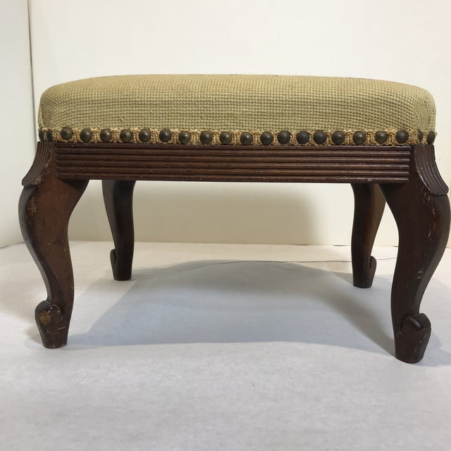 Shabby Chic 1940s Shabby Chic Needlepoint Footstool For Sale - Image 3 of 9