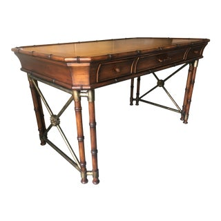 Boho Chic Hooker Furniture Faux Bamboo and Metal X Design Desk For Sale