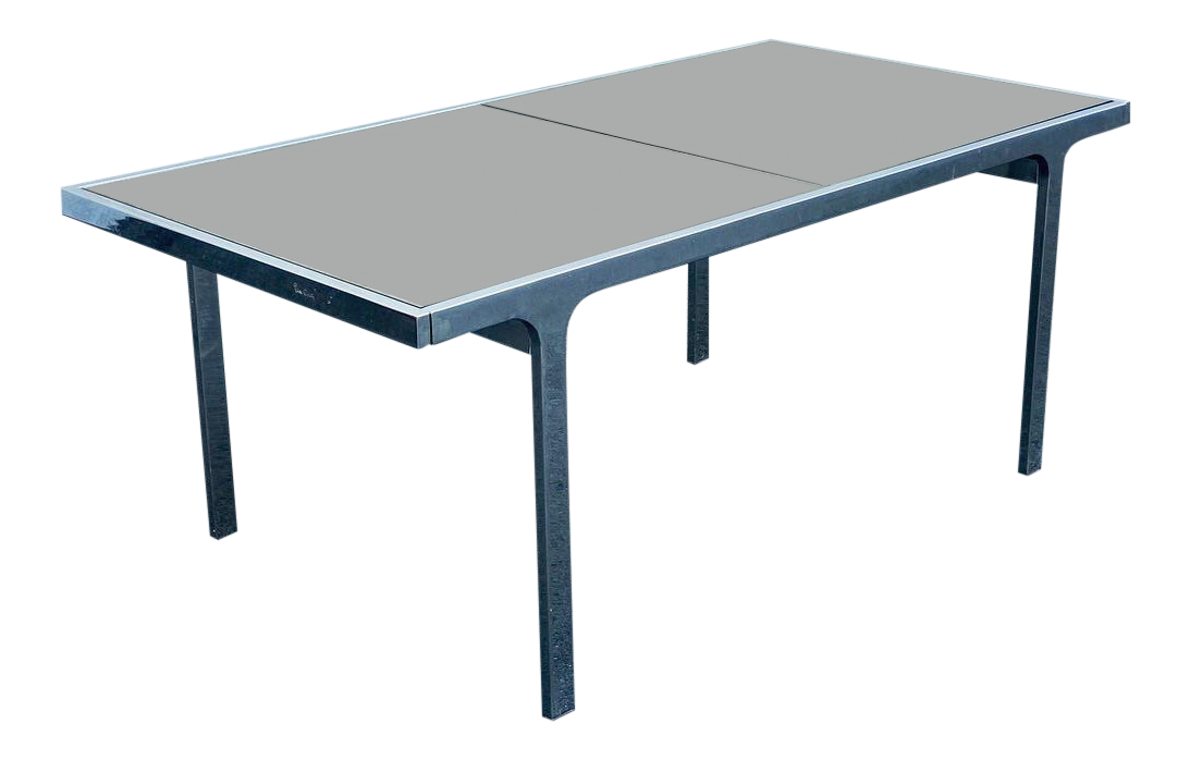 Signed Pierre Cardin Chrome U0026 Smoked Glass Dining Table For Sale