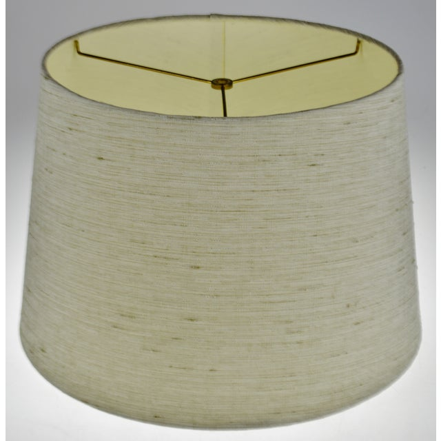 Vintage Linen Fabric Drum Lamp Shade For Sale - Image 10 of 11