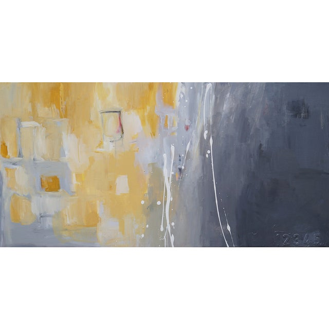 """""""50 Shades of Gray & Yellow"""" Giclee Canvas Print For Sale"""