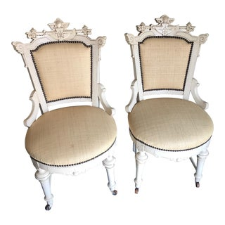 1970s Vintage Carved Cottage Chairs- A Pair For Sale