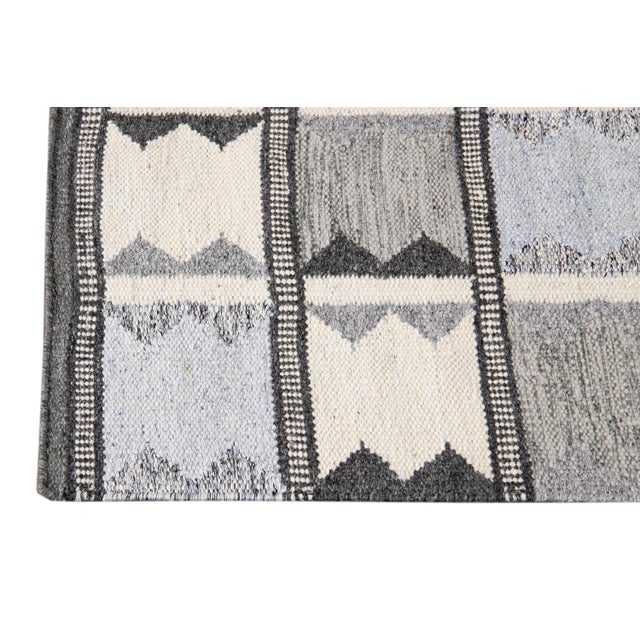 Beautiful Modern Swedish Style Runner Rug with a gray field and ivory and light blue accents with an all-over geometric...