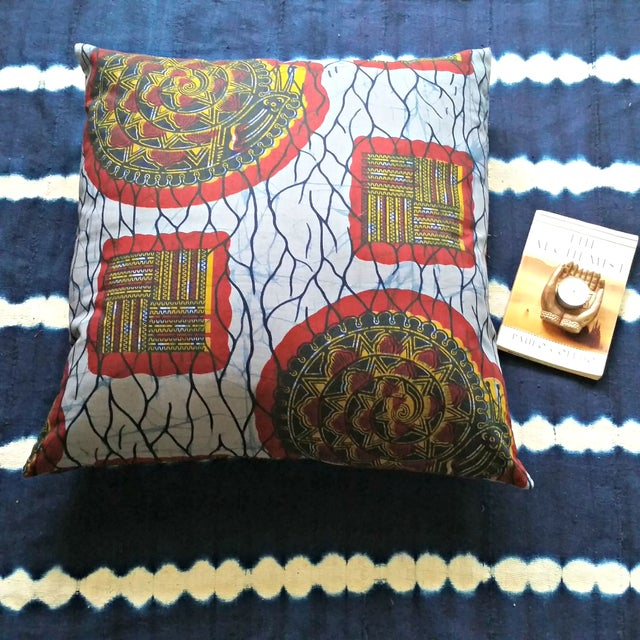 XL African Wax Print Fabric Pillow - Image 4 of 4