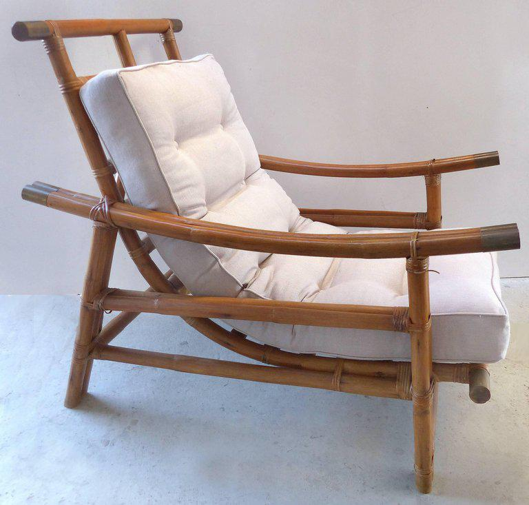 Charmant Vogue Rattan Mid Century Modern Rattan Lounge Chair And Ottoman   Image 6  Of 8