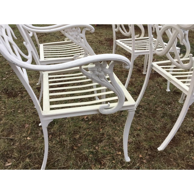 Brown Jordan White Day Lily Arm Chairs - Set of 4 - Image 4 of 5
