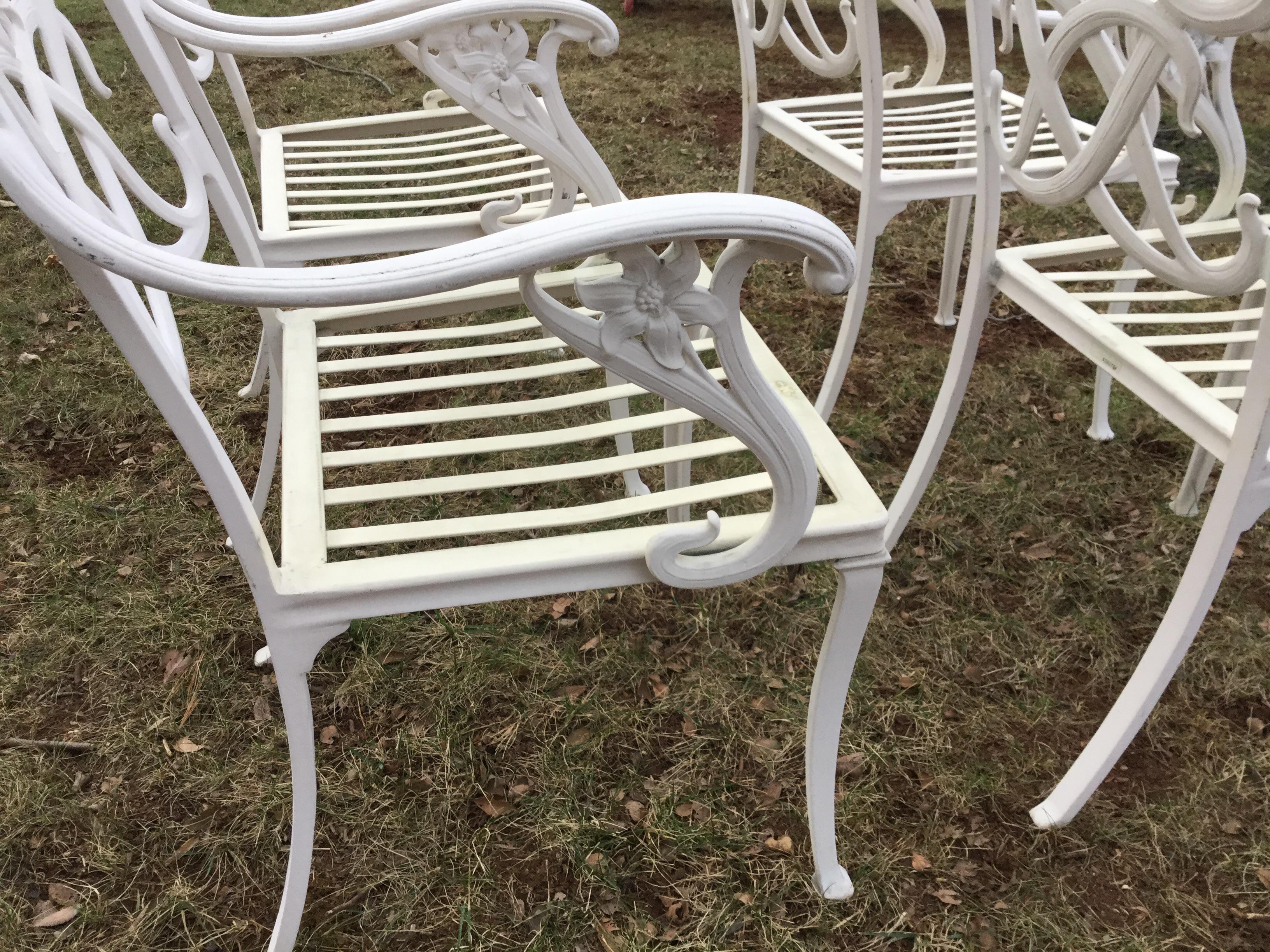 Brown Jordan White Day Lily Arm Chairs   Set Of 4   Image 4 Of 5