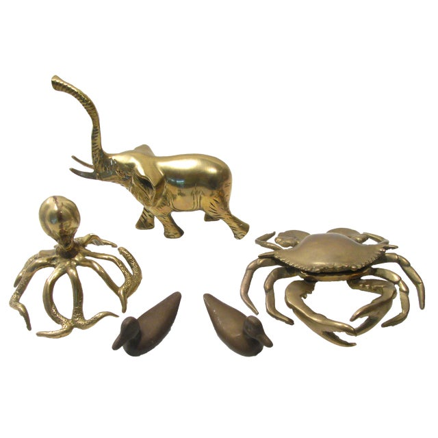 A Mid-Century Brass Menagerie, S/5 For Sale