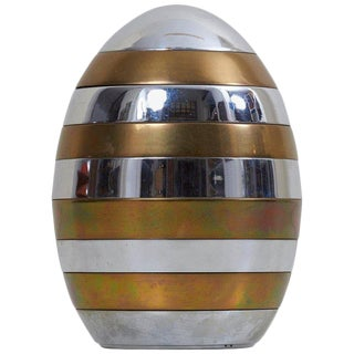 Sculptural Brass and Chrome Stacking Tray Egg by Tommaso Barbi For Sale