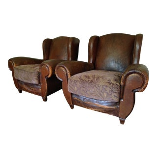 French Wingback Leather Chairs - A Pair