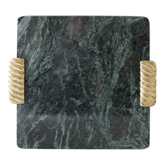 Georges Briard Green Marble & Brass Cutting Board Serving Tray Mid Century For Sale