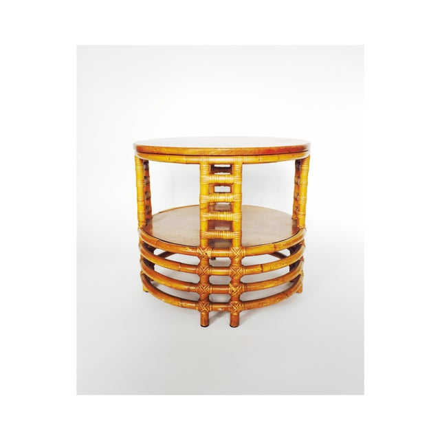 Vintage Round Bamboo Rattan Side Table - Image 2 of 5