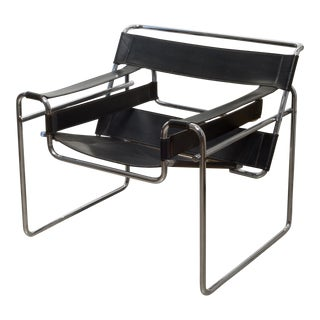 Mid-Century Leather Marcel Breuer for Knoll Wassily Chair C.1960-1970 For Sale
