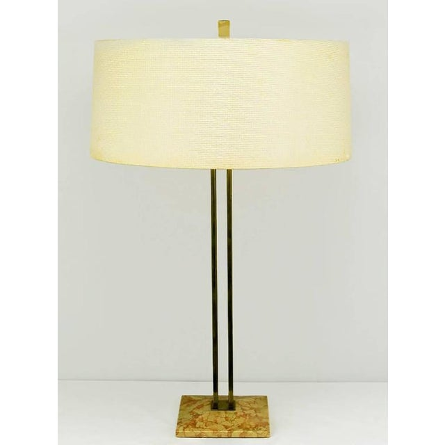 Pair of circa 1950s Stiffel Rouge Marble and Square Brass Columns Table Lamps - Image 3 of 6