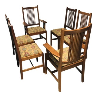 1990s Vintage Stickley Mission Spindle Back Dining Room Chairs - Set of 6 For Sale