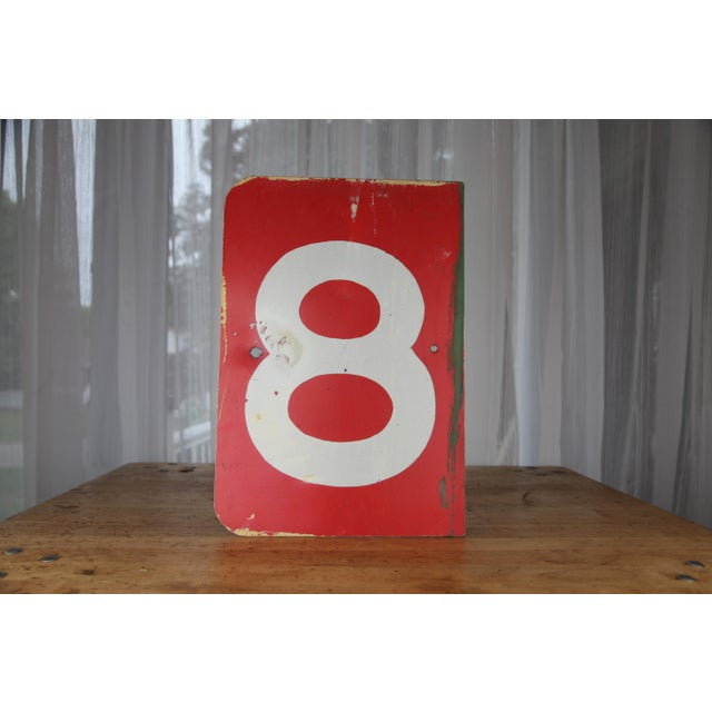 Vintage Number 8 Red Metal Sign From Airplane Hanger For Sale In New York - Image 6 of 10