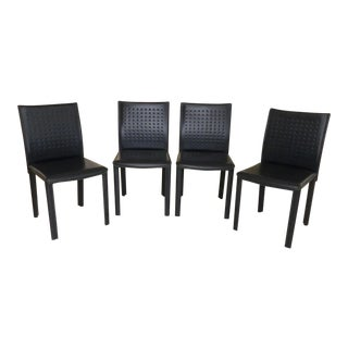 Arper Modern Italian Leather Dining Chairs- Set of 4 For Sale