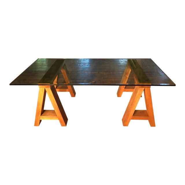 Wood & Beveled Glass Executive Desk For Sale