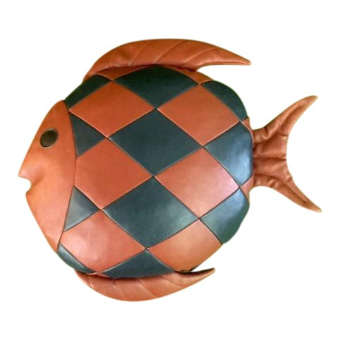 Vintage 1970's Leather Fish Pillow - Image 1 of 4