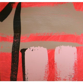Pink Red & Black Abstract Acrylic Painting by Jose Trujillo For Sale