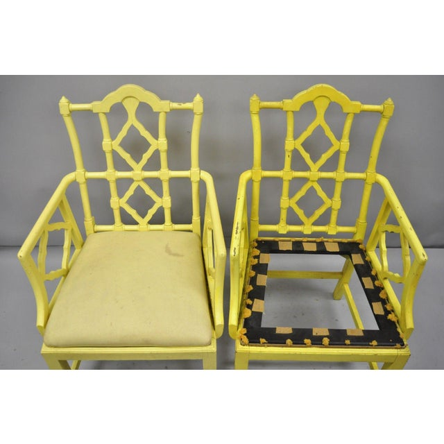 Chinoiserie Hollywood Regency Yellow Fretwork Armchairs - a Pair For Sale In Philadelphia - Image 6 of 11