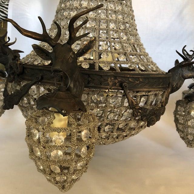 Gold Bronze 10 Light Deer Head Chandelier For Sale - Image 8 of 11