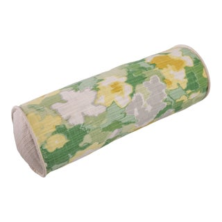Cottage Style Floral Bolster Pillow For Sale