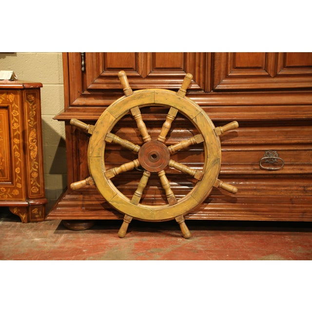 19th Century French Carved Walnut and Iron Sailboat Wheel With Old Yellow Paint For Sale In Dallas - Image 6 of 7