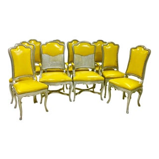 French Louis XV Style Leather and Silver Gilt Dining Chairs. 10