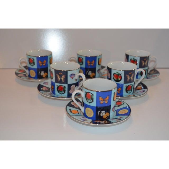 Blue Vintage Mid Century Gucci Guccissimo Porcelain Espresso Cup Saucer Set- 12 Pieces For Sale - Image 8 of 13