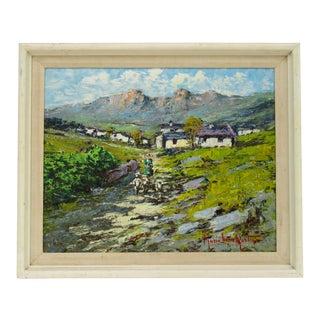 Vintage C.1940s-50s Italian Sicilian Signed Artist Imressionist Landscape Oil Painting For Sale