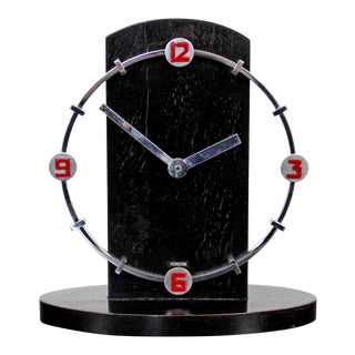 Art Deco Rare German Mechanical Black & Red Table Mantle Clock For Sale